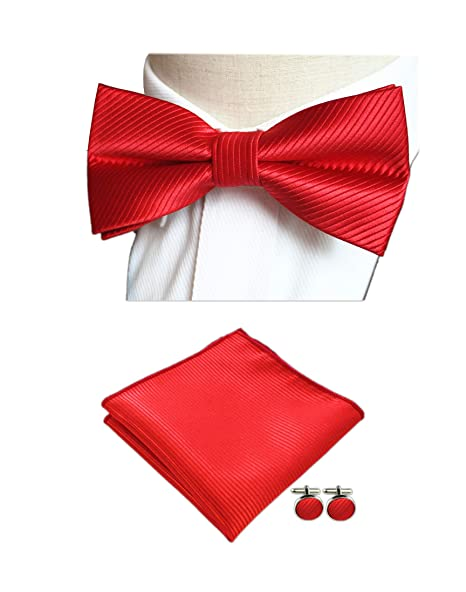 f1be5bf6c988 Amazon.com: Men Cherry Red Bow Ties Pocket Square Set Solid Color Silk  Jacquard Woven Cravat: Clothing