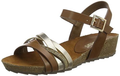 Womens Pika Sling Back Sandals, Brown (Tan/Gold), 7 UK 41 EU Lotus