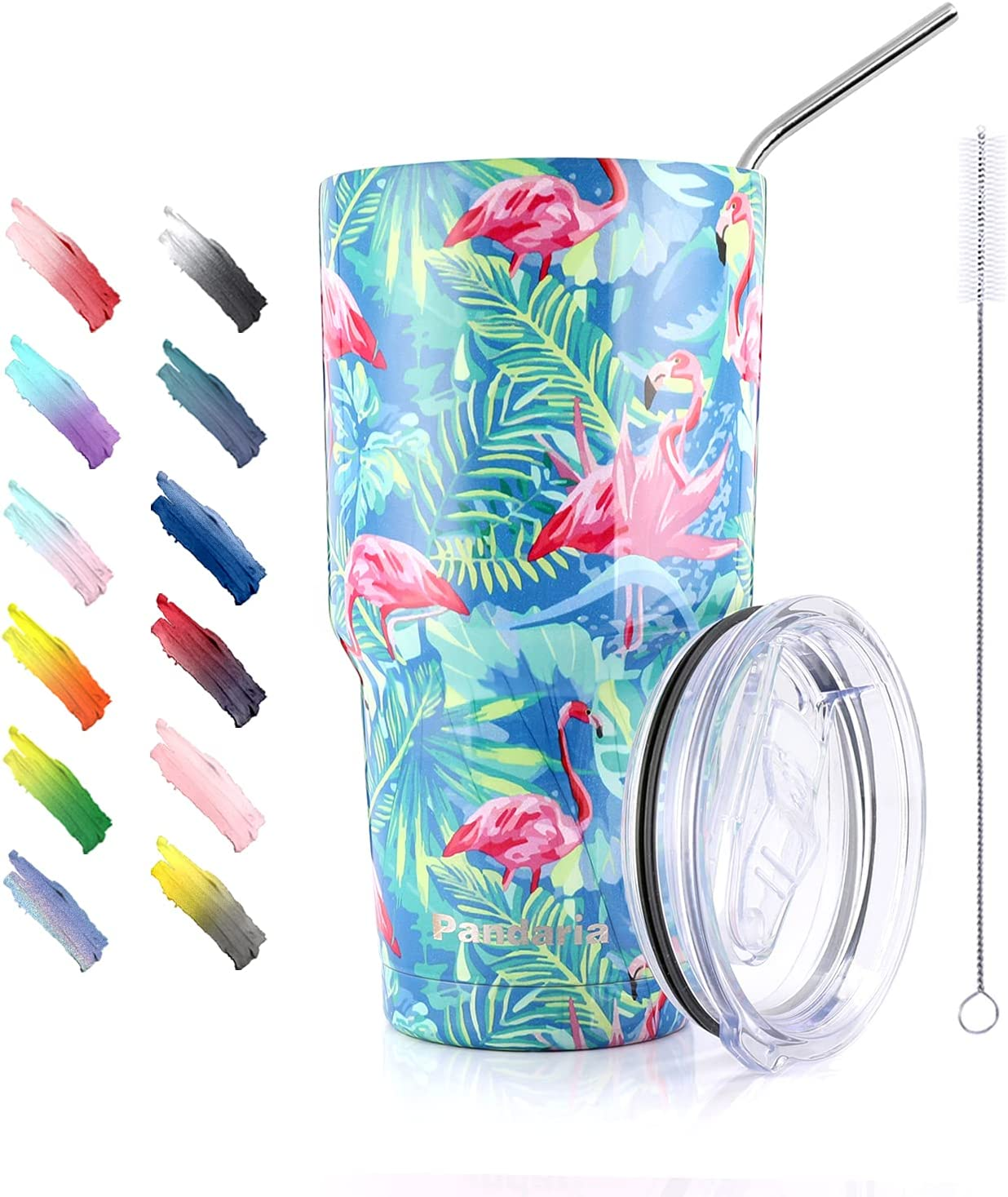 Pandaria 30 oz Stainless Steel Vacuum Insulated Tumbler with Splash Proof Lid and Metal Straw - Double Wall Travel Mug Water Coffee Cup for Ice Drink & Hot Beverage, Flamingo Blues