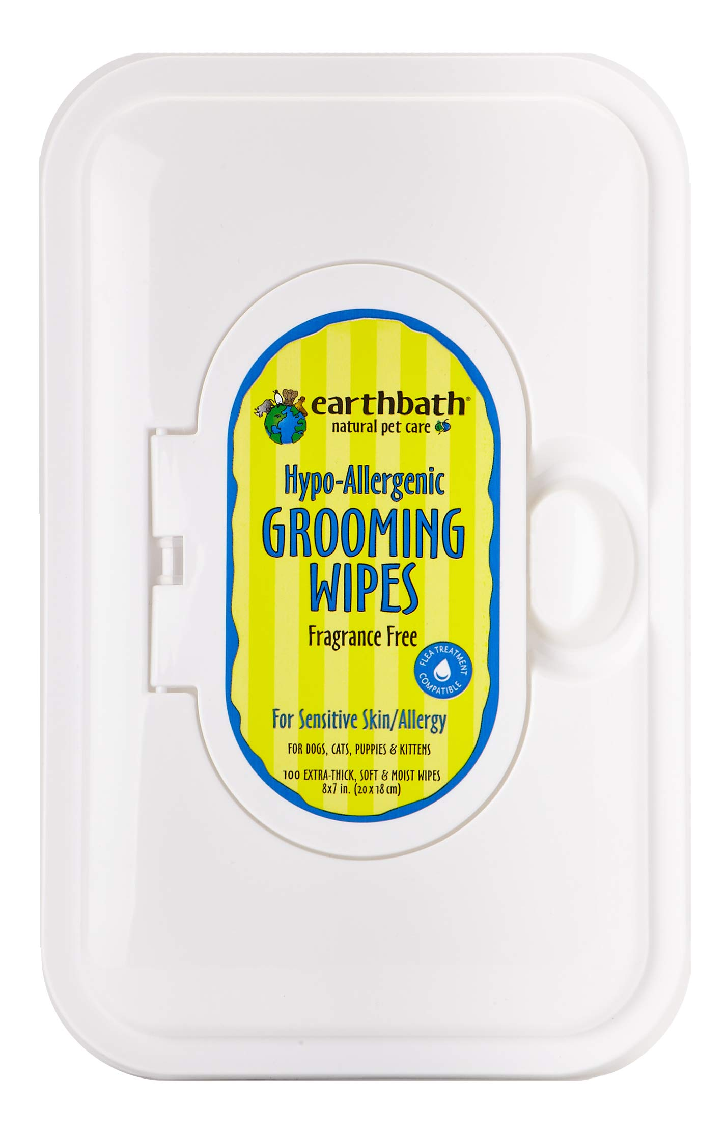 Earthbath All Natural Grooming Wipes, Hypo-Allergenic and Fragrence Free - Pack of 1 by Earthbath