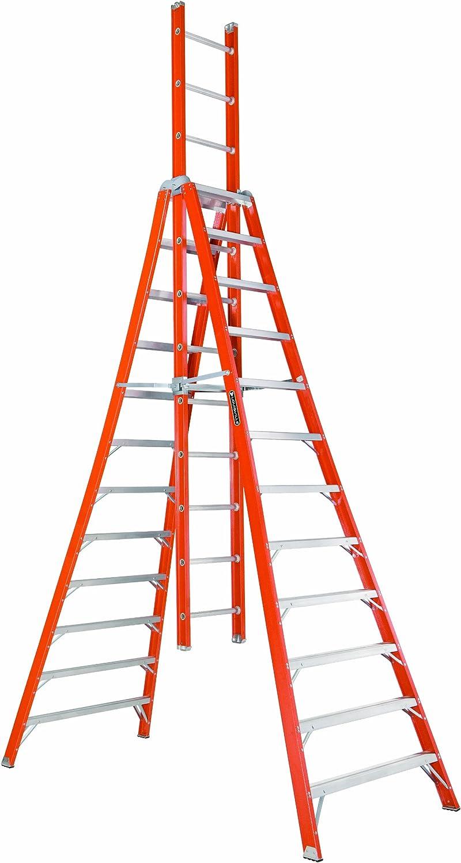 Louisville Escalera Escalera de caballete de extensión de fibra de vidrio: Amazon.es: Bricolaje y herramientas