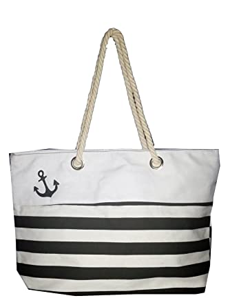 Amazon.com | Custom Nautical Stripe Anchor Accent Zipper Beach Bag ...