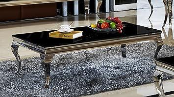 Couchtisch 130 X 70 42 Aura Schwarz Wohnzimmer Designer Luxus Tisch Bro Edelstahl Glas Barock