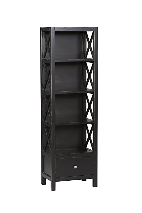 Linon Anna Collection Tall Narrow 5 Shelf Bookcase