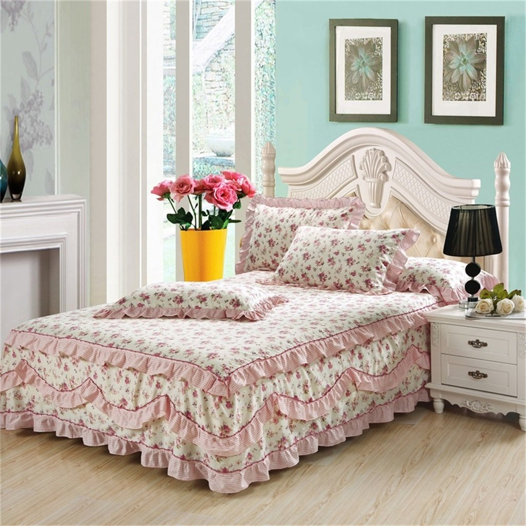Cotton Lace Bed Skirt Bedspread Single Cotton Bed Cover Bedspread ( Size : 120*200cm ) LHL-Bed skirt