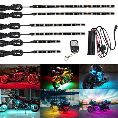 NBWDY 6Pcs Led Light Kits Multi-Color Wireless Remote Control Motorcycle Atmosphere Lamp RGB Flexible Strips Ground Effect Light for Motorcycle: Automotive