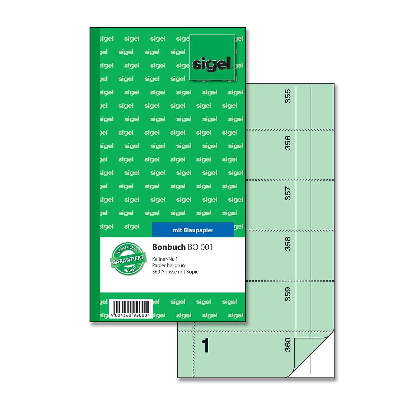 Sigel-Blocco Voucher 360 biglietti 2 rosa 105 x 200 MM 2 confezioni da 60 fogli di carta carbone Kellner-Nr confezione da 2