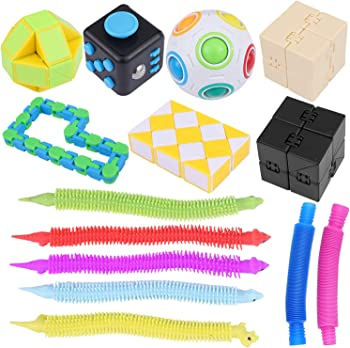 Scolor 14-Pieces Stress & Anxiety Relief Fidget Hand Toys