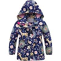 C&X Girls Rain Jacket Kids Hooded Raincoat Windbreaker with Fleece Lining