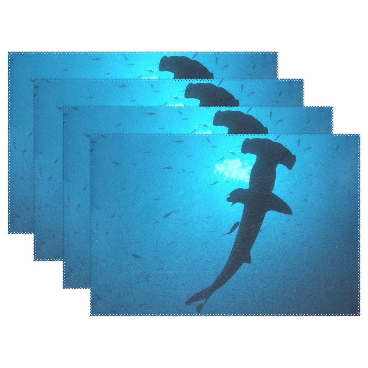 Ethel Ernest Cool Scalloped Hammerhead Sharks Underwater耐熱プレースマット、ポリエステルテーブルマットPlace Mat forキッチンダイニングルーム1 Piece 12x18x6 in 6  B076586PLL