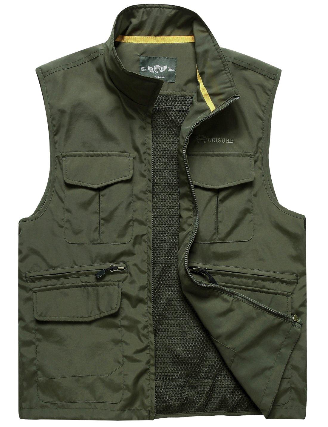 Flygo Men's Leisure Mutiple Pockets Outdoors Vest Sleeveless Jacket (Large, Army Green) by Flygo