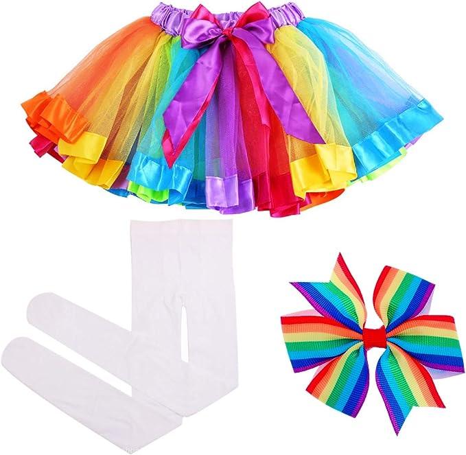 Italily-Vestito dal Bambina Tutu Abito Arcobaleno per Ballo