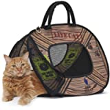 SportPet Designs Cat Carrier with Zipper Lock- Foldable Travel Cat Carrier - Pet Pen, Blue/Brown (CM-0431-CS01)