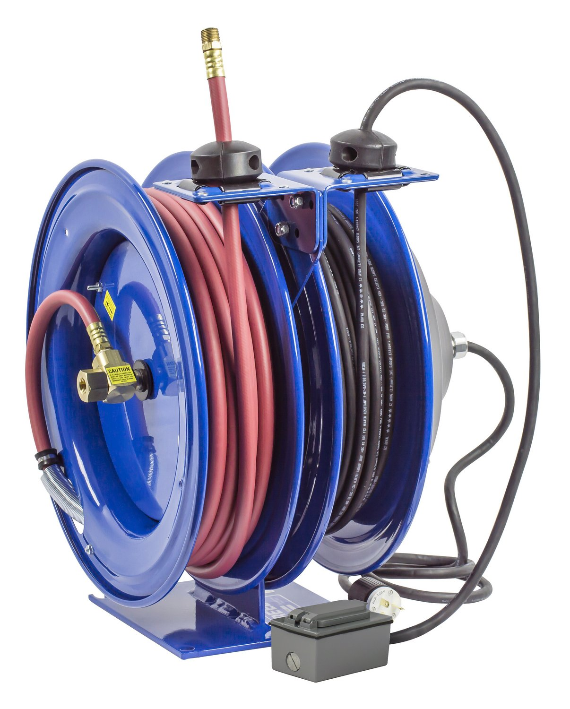 Coxreels C-L350-5012-F Dual Purpose Electric/Air Spring Rewind Reels: 50' 3/8'' I.D. hose, 300 PSI; G.F.C.I. Receptacle, 50' cord, 12 AWG