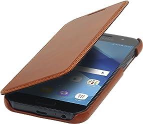 StilGut Book Type Case, Custodia in Pelle Cover per Samsung Galaxy A3 (2017). Chiusura a Libro Flip-Case in Vera Pelle, Cognac