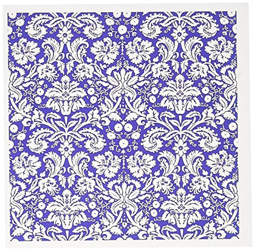 3dRose Set of 12 Greeting Cards, Royal Blue and White Damask Pattern ()