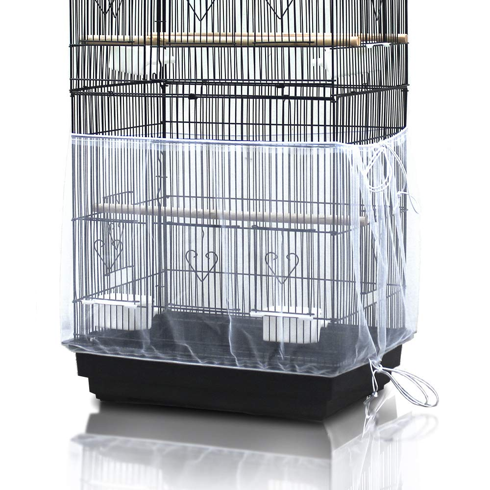 ASOCEA Universal Birdcage Cover Seed Catcher Nylon Mesh Parrot Cage Skirt- White (Not Include Birdcage)
