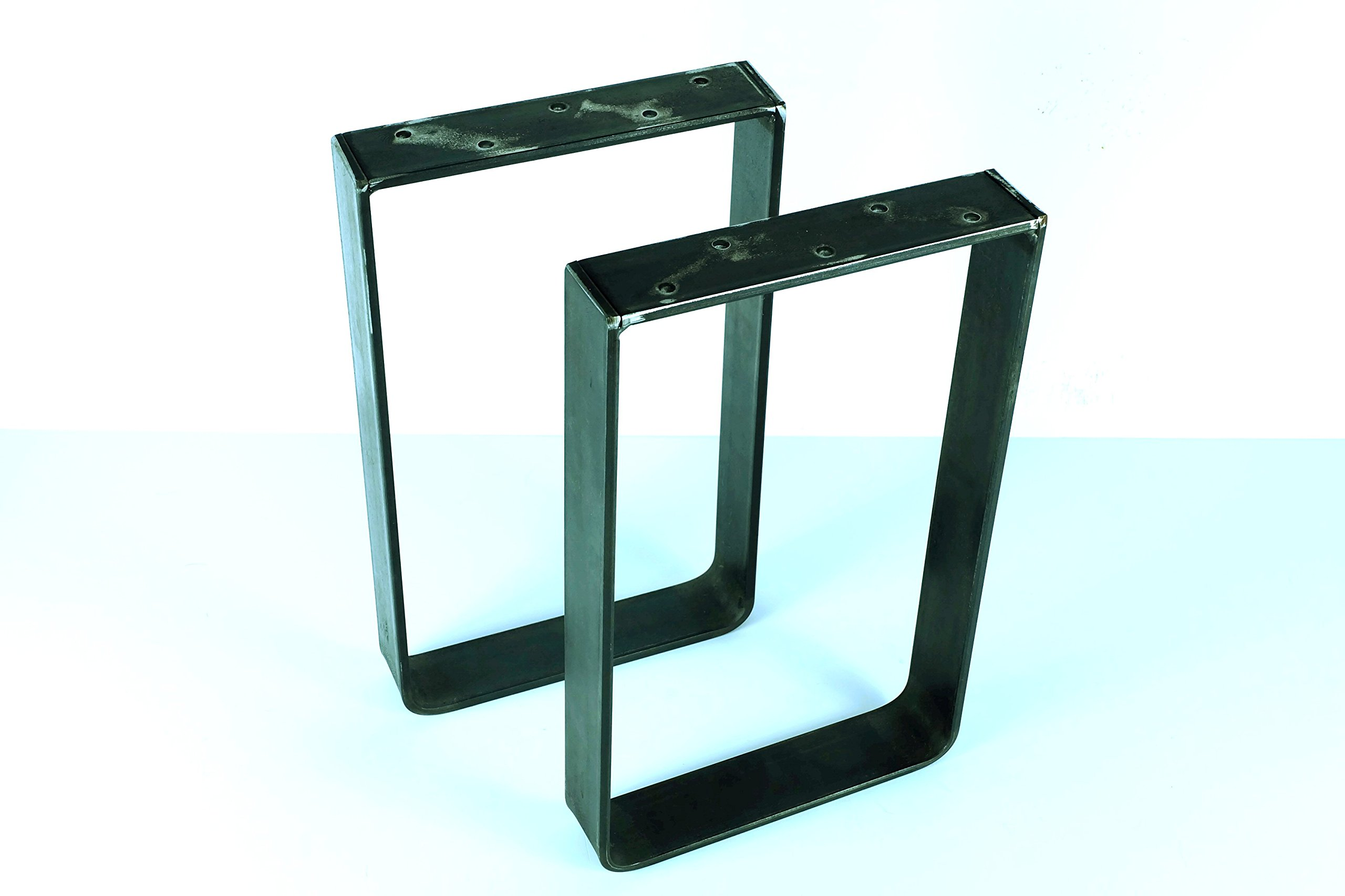 30'' Tall x 14'' Wide Square Table/Bench Legs, 2'' Wide x .25'' Thick Solid Steel Flat Bar, Powder Coated Satin Black, Set of 2