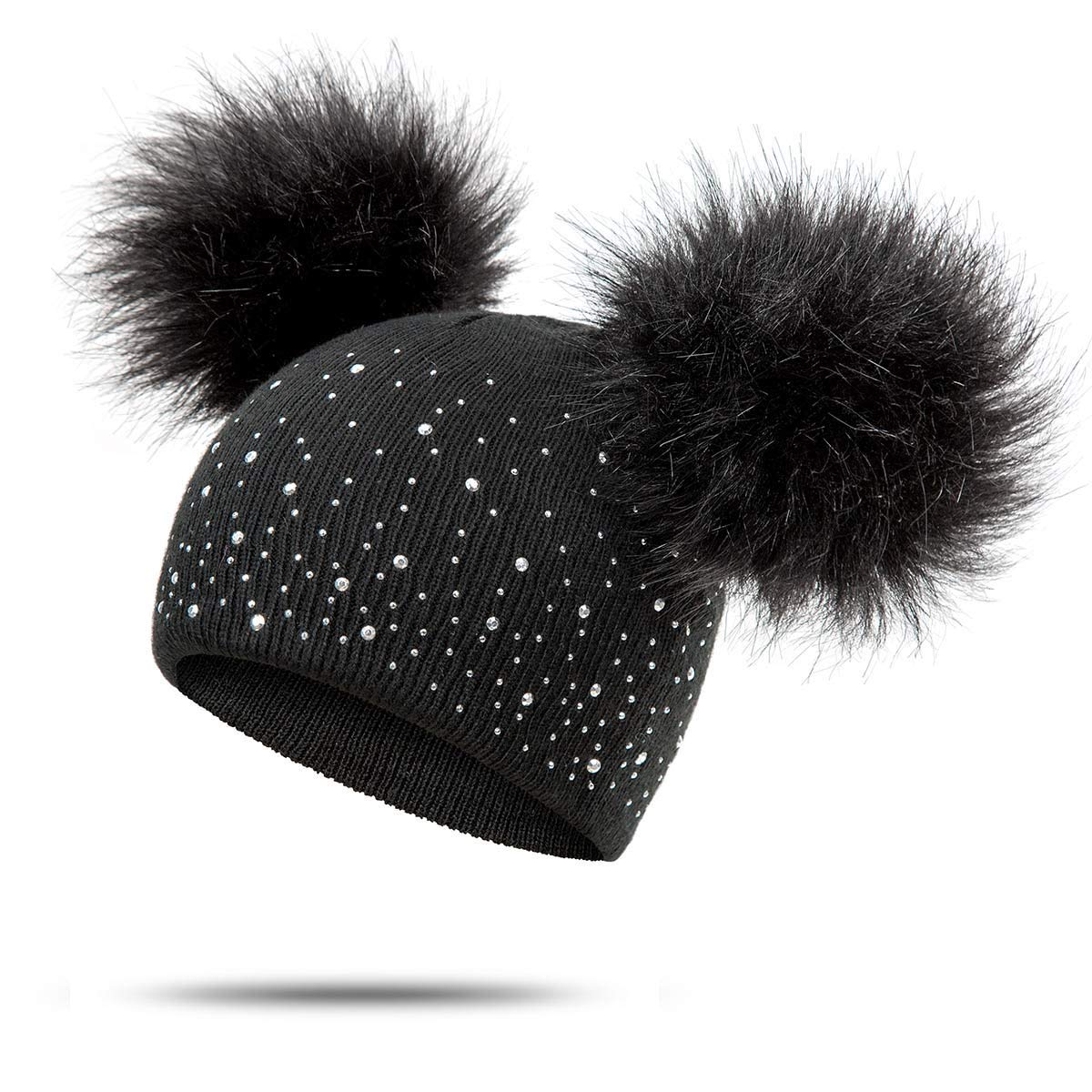 Toddlers Baby Boys Girls Beanie Hat with Shiny Diamonds Faux Fur Pom Pom Cap for Kids RAYSUN Kids Winter Knitted Hats