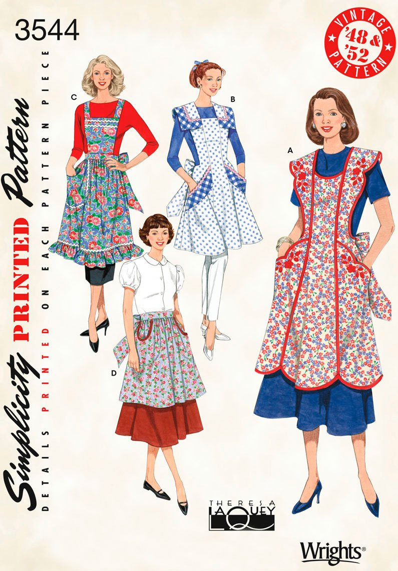 1940s Sewing Patterns – Dresses, Overalls, Lingerie etc Retro Aprons Pattern $7.89 AT vintagedancer.com