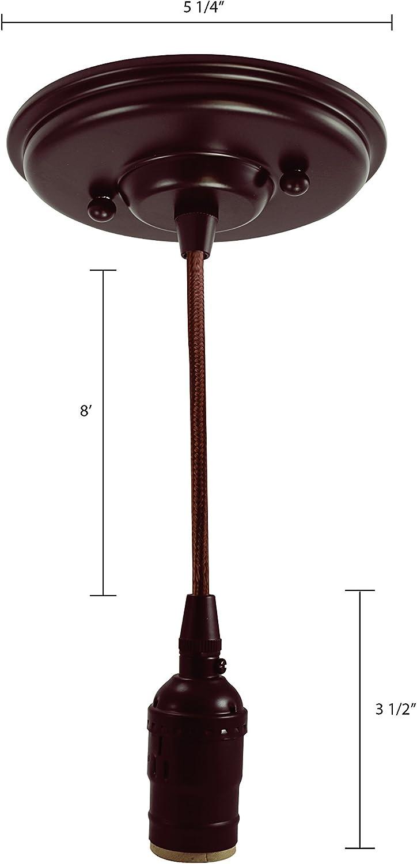 iLightingSupply F01108-23 Satin Nickel Pendant Light Fixture Black Rayon Wired