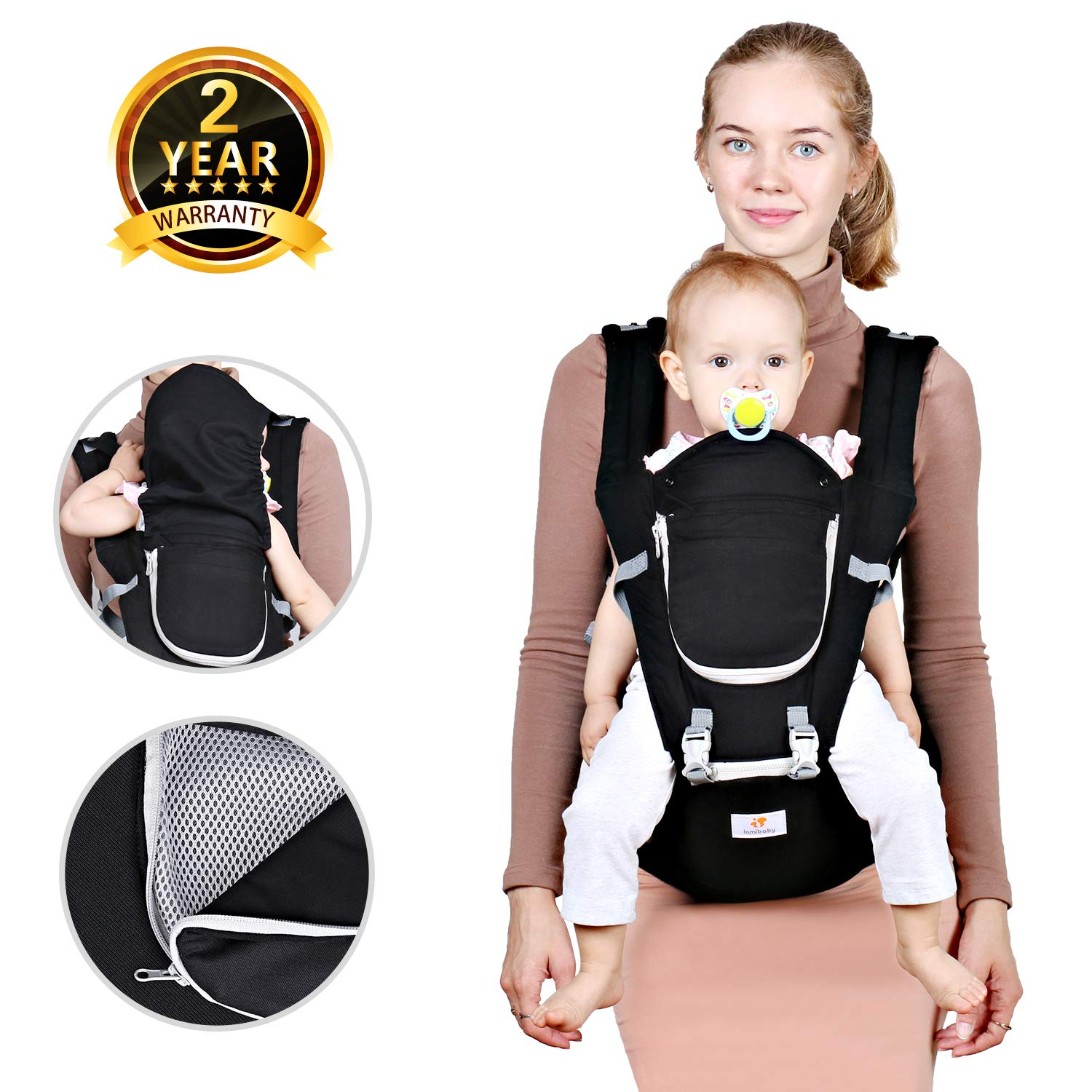 Baby Hip Seat Belt Carrier – Safety Certified Front Facing Back Pain Relief Soft Carrier (Ergonomic M Position), 100% Cotton for All Seasons, Child Infant Toddler, Perfect Baby Shower Gift