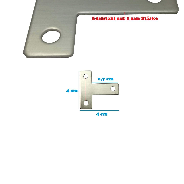 Euro Tische 10X T-Winkel Flachverbinder Edelstahl Beschlag Lochplatte Holzverbindung Lochblech 4cmx4cmx0,1cm