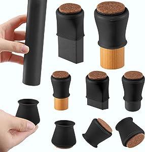Black Silicone Chair Leg Floor Protectors with Felt, Chair Leg Caps, Silicon Furniture Leg Feet Protection Cover Protect Hardwood Floor Black Brown Clear 16 Pcs (Medium Fit: 1.2