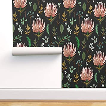 Spoonflower Peel And Stick Removable Wallpaper Protea Botanical Floral Study Black Large Scale Leaf Flower Botany Print Self Adhesive Wallpaper 12in X 24in Test Swatch Amazon Com
