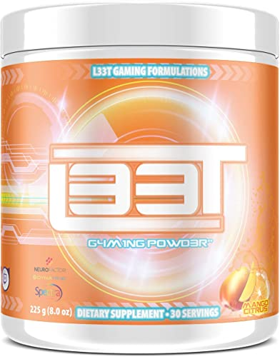 L33T Gaming Powder Natural No-Crash Energy Ultimate Focus Faster Reaction Time, Zero Jitters, Smooth Energy Easily Mixes with Water Enhance Gameplay Mango Citrus, 30 Servings