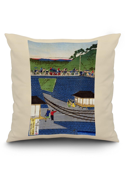 蒸気で電車Takanawa Seashore Japanese木材カット印刷 20 x 20 Pillow (Natural Border) LANT-3P-PW-NL-21630-20x20 B01N2MXRY8  20 x 20 Pillow (Natural Border)
