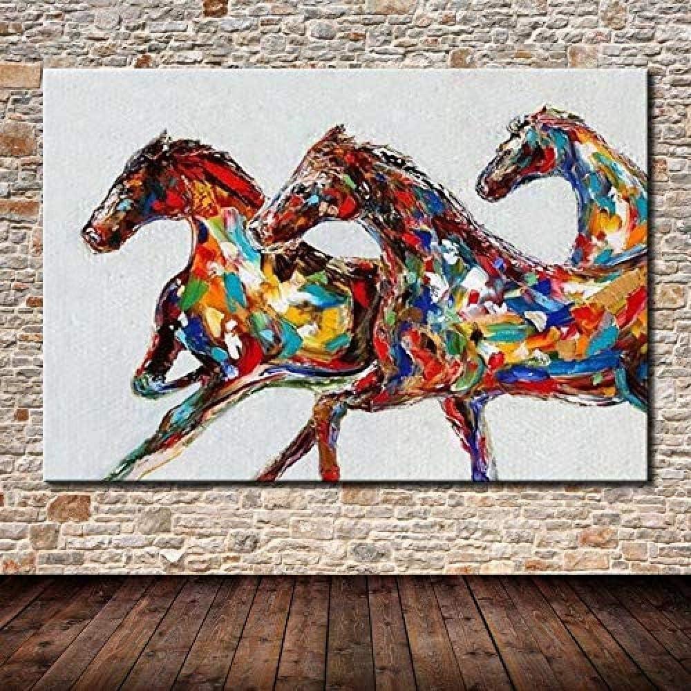 DYHDQ Pinturas Al Óleo sobre Lienzo Pintada A Mano Pinturas Al Óleo sobre Caballos De Colores sobre Lienzo Cuadros Abstractos Modernos del Arte De La Pared 40×60Cm
