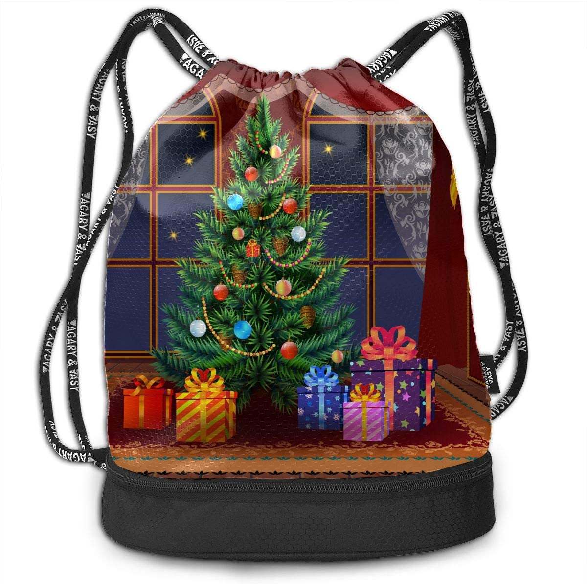 Drawstring Gym Bag Women Merry Christmas Repeat Trees Happy Travel Backpack Small Hiking Backpack Lightweight With Zipper Pocket Sports Athletic School Travel Gym Cinch Sack