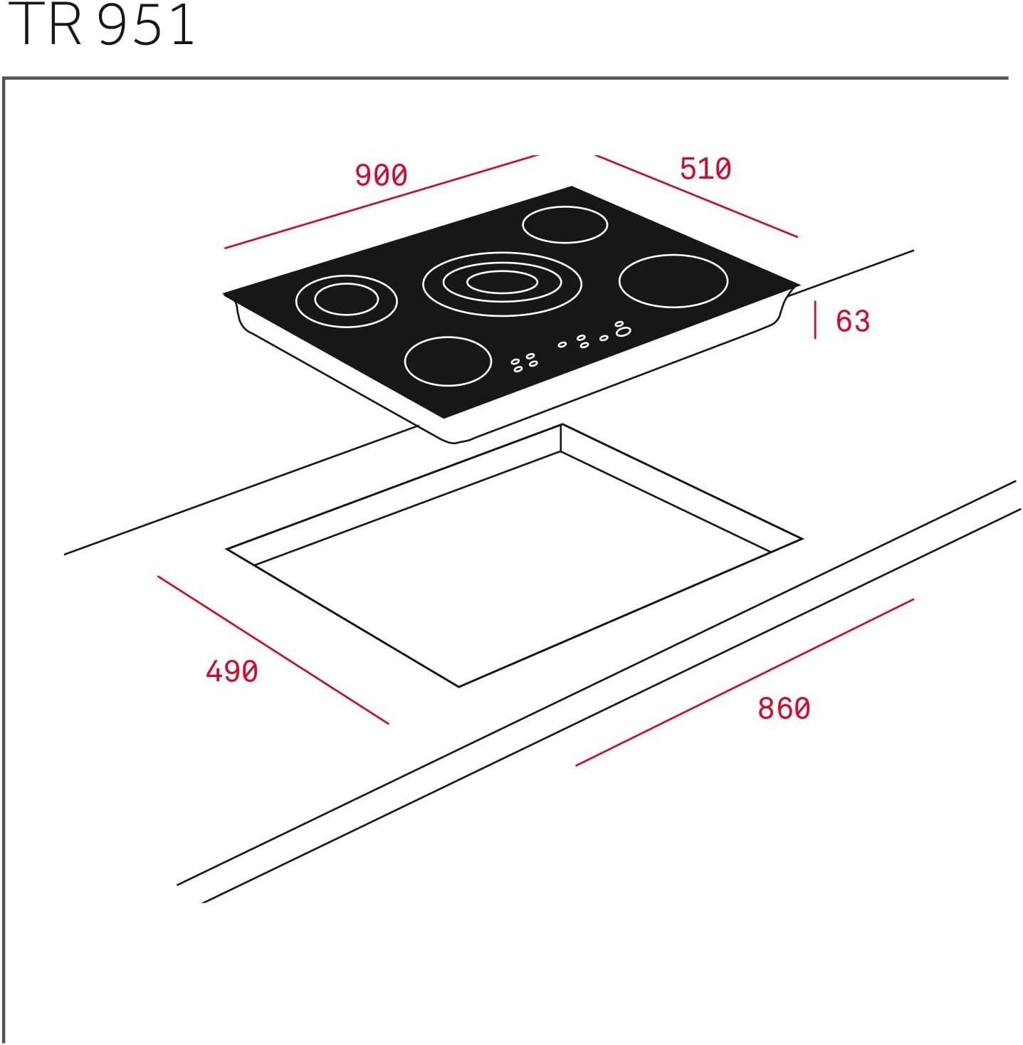 Teka TR 951 - Placa Vitrocerámica con High Light, Negro: 376.54: Amazon.es: Grandes electrodomésticos