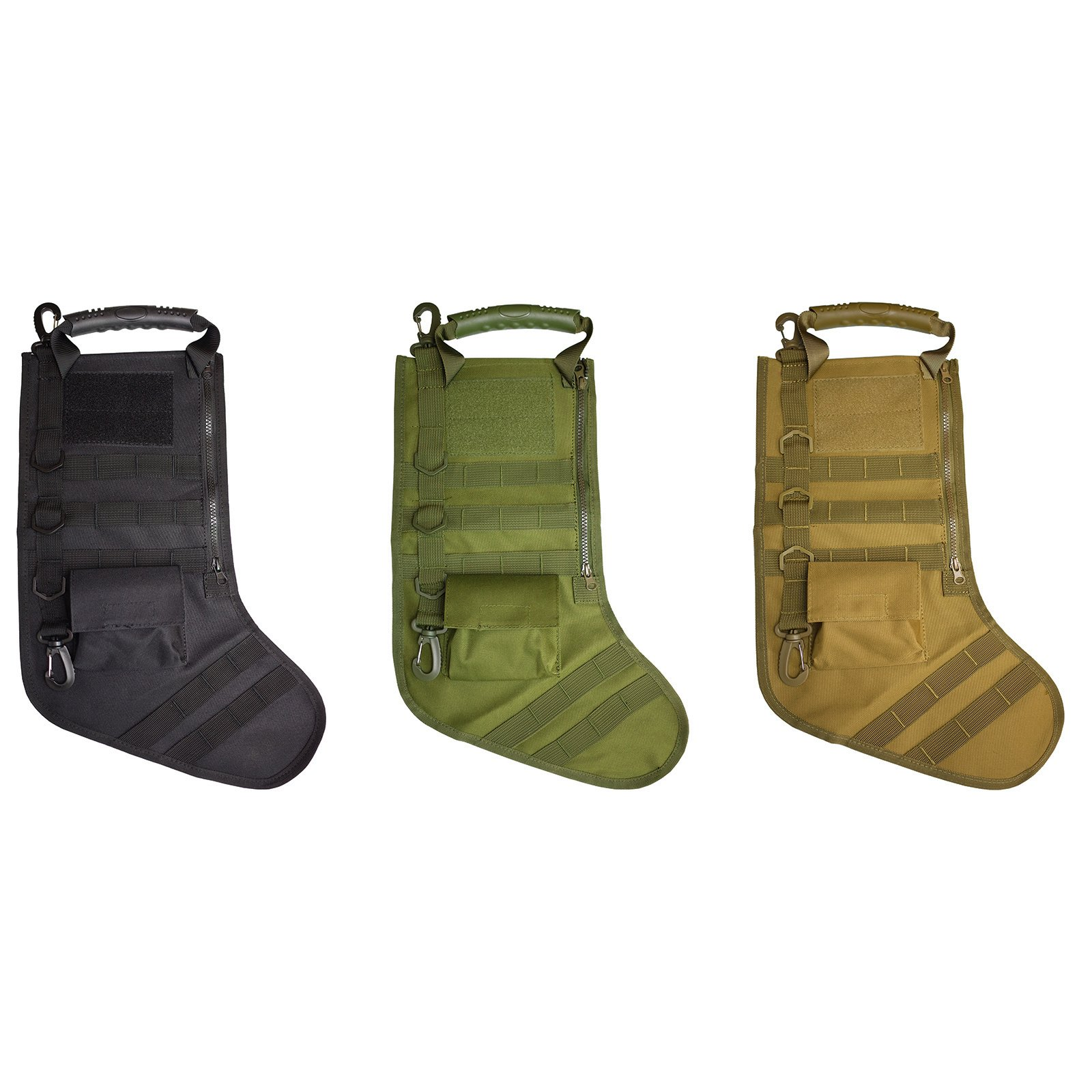 Set of 3 Tactical 20 inch Christmas Stockings for Man with Molle Gear - Black, Od Green, Khaki