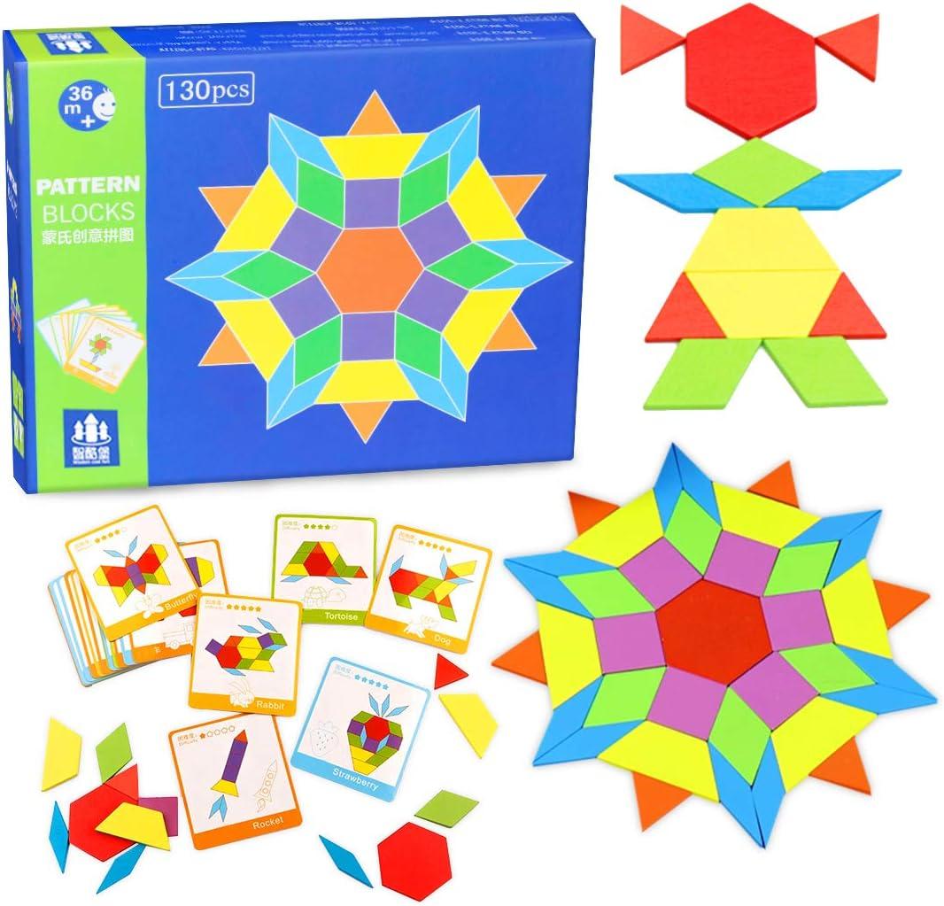 O-Kinee Tangram Infantil,130 Bloques de Patrones de Madera Blocks Juguetes Educativos Juego de Forma DIY Geométrica de Manipulación Montessori Regalo Jigsaw Puzzle con 24 Tarjetas de Diseño