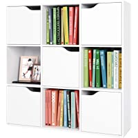 Librería Estantería Pared para Libros Estantería Madera Mueble Almacenaje con 9 Cubos y 5 Puertas para Oficina Estudio Salón…