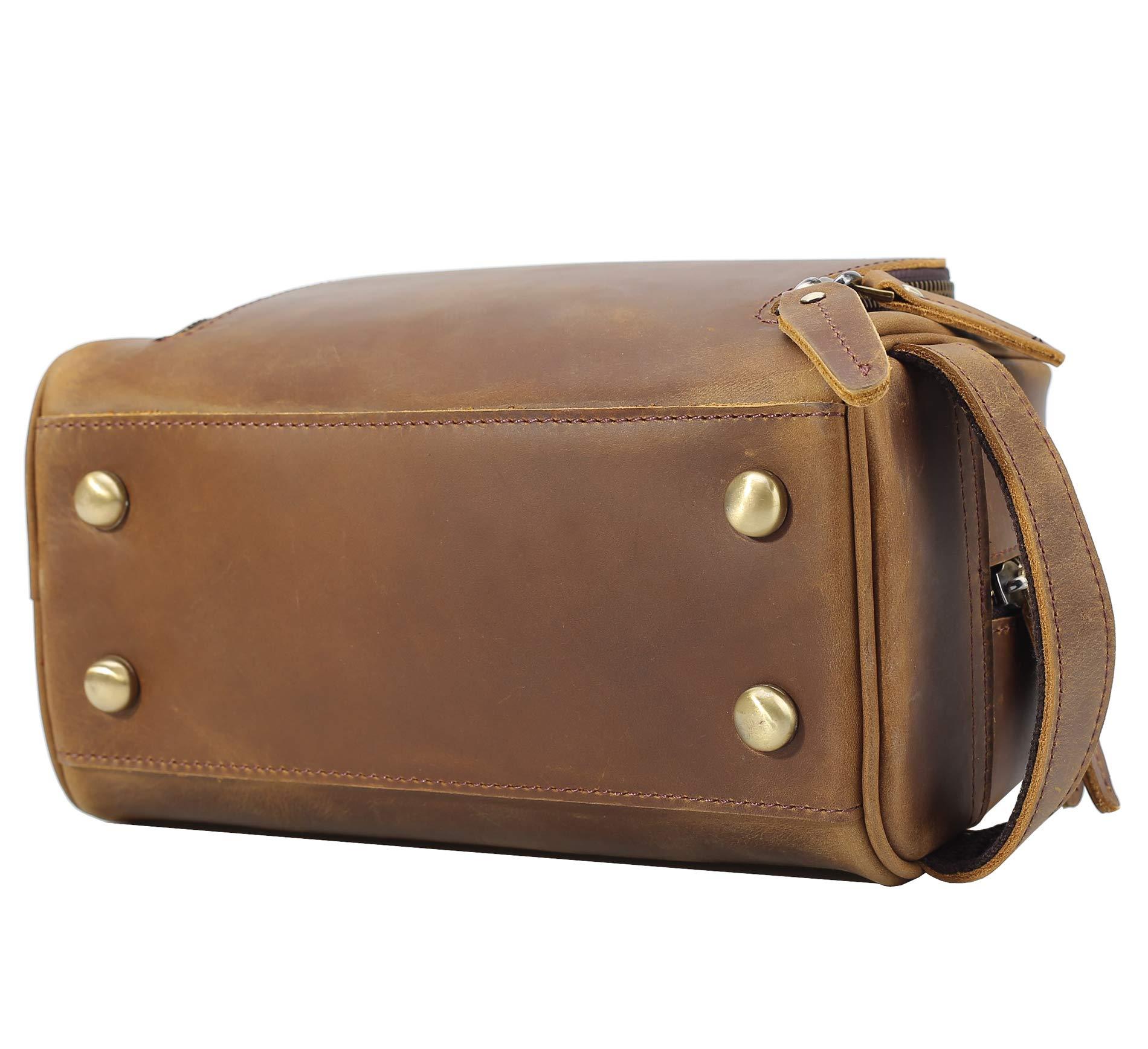 Polare Vintage Full Grain Leather Handmade Travel Toiletry Bag for Men - Dopp Kit - Shaving Kit by POLARE ORIGINAL (Image #5)