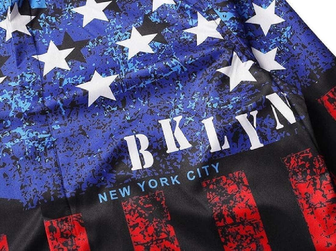 omniscient Mens American Flag Button Down Shirt Casual Long Sleeve Dress Shirts