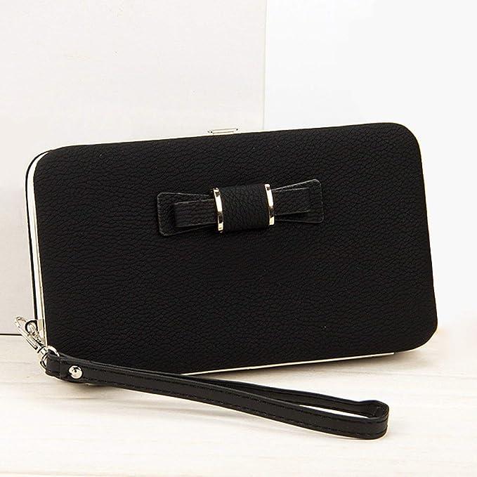 Women PU Leather Bowknot Small Clutch Purse Zipper Wallet Card Holder Bag UK