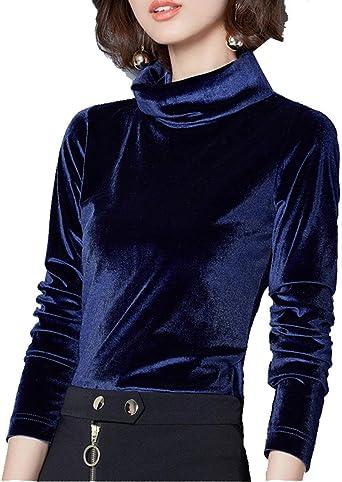 Camisa De Señoras Cuello Alto Blusa De Manga Larga Camisa ...