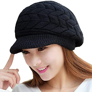 Loritta Womens Winter Warm Knitted Hats Slouchy Wool Beanie Hat Cap With  Visor  Amazon.in  Clothing   Accessories 649fe0133496