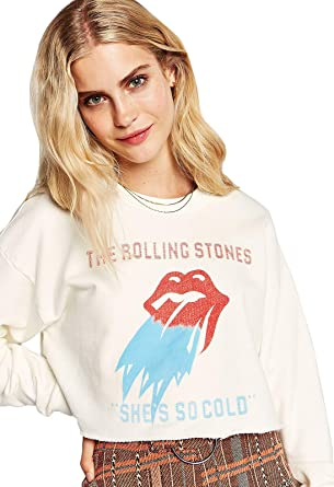 bbab298a82d DAYDREAMER Women's Rolling Stones She's So Cold Crop Sweatshirt at Amazon  Women's Clothing store: