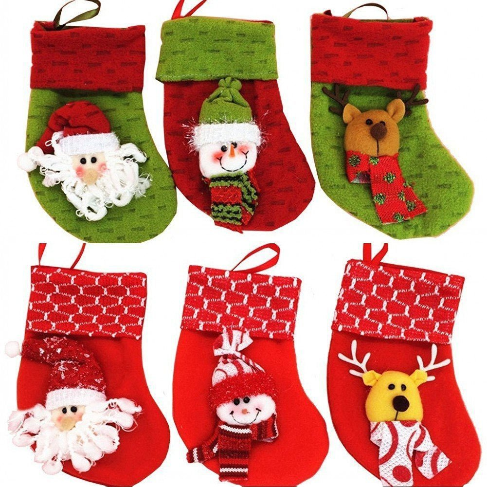 Christmas Stockings Decorations Socks Decor Santa Snowman Set of 6, Christmas Holiday Party Decorations Gift/Treat Bags ONEGenug