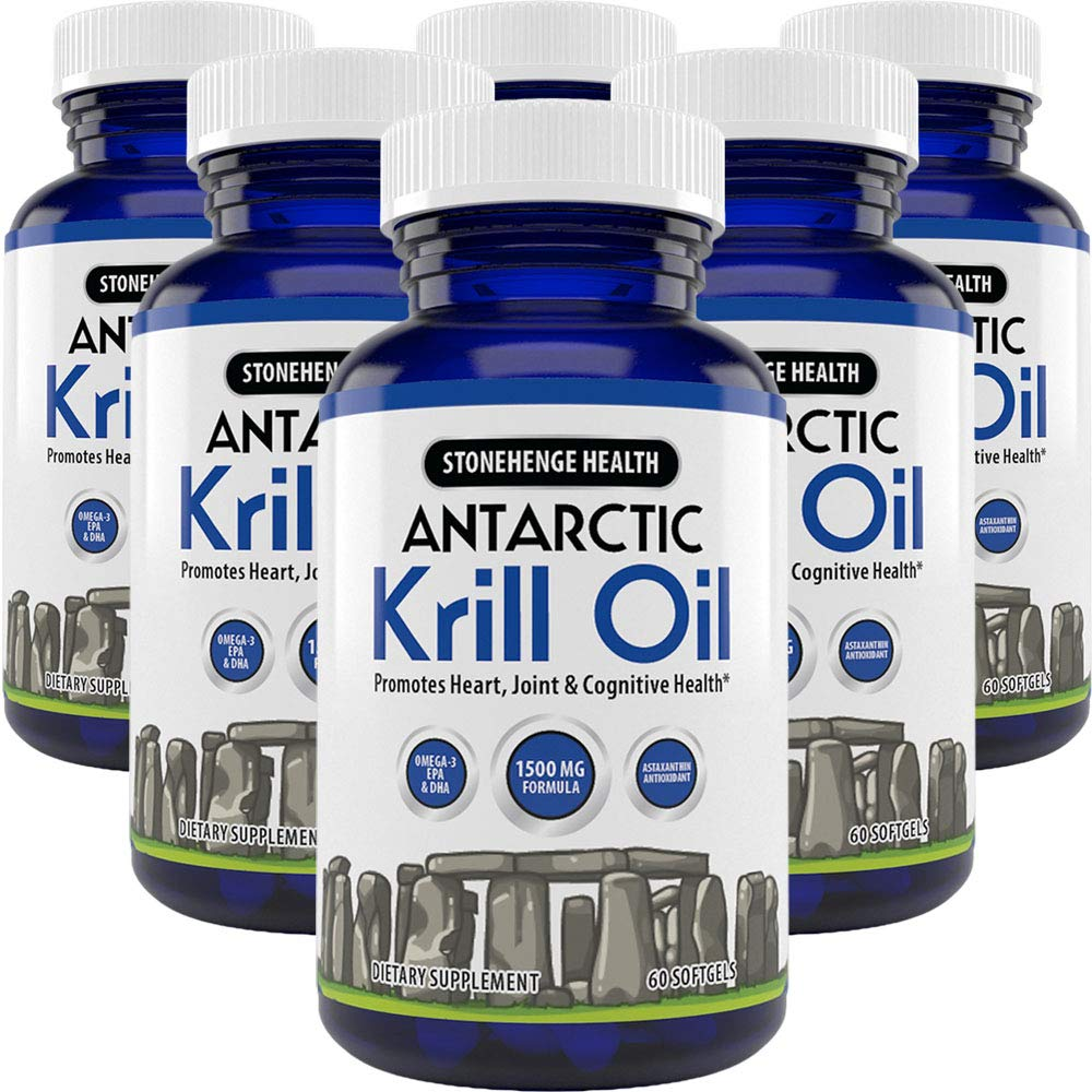 Stonehenge Health Antarctic Krill Oil - Manufactured in USA - Supports Heart, Joint & Brain Health - Maximum Strength Omega-3 EPA - Lemon-Scented - Easy to Swallow - 60 Softgels 30 Day Supply (6 Pack)