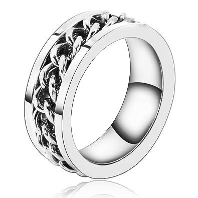 Beydodo Edelstahl Herren Ring 8mm Silber Anker Kette Verlobungsringe
