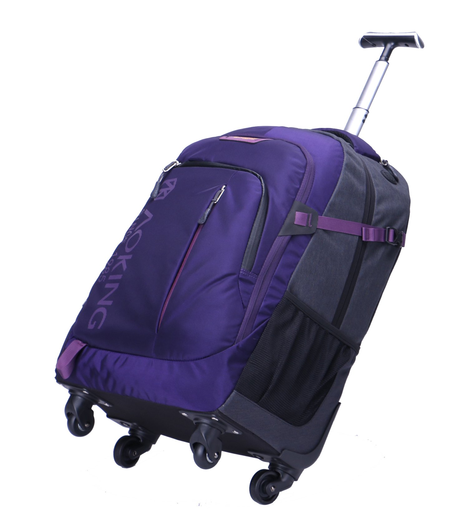 AOKING 20/22 Inch Water Resistant Travel School Business Rolling Wheeled Backpack with Laptop Compartment (Purple, 20 Inch) by JOLLYCHIC (Image #5)