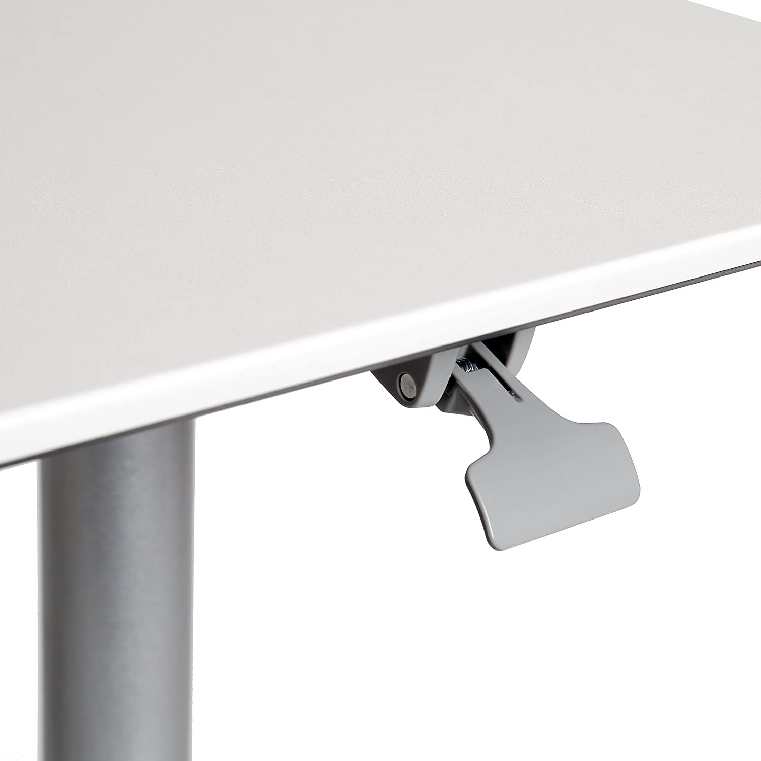 White 27.1 to 41.9 H Seville Classics AIRLIFT XL 28 Pneumatic Height Adjustable Sit-Stand Mobile Laptop Computer Desk Cart