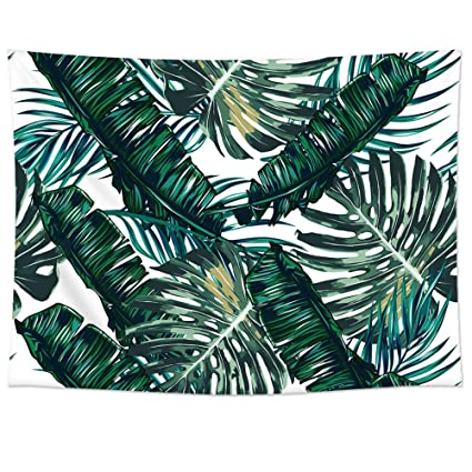 Palm Leaves Pattern Tapestry Wall Hanging Uphome Light Weight Polyester Fabric Decor
