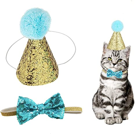 Cute Small Dog Cat Birthday Party Cone Hat Crown and Bow Tie Collar Set with and Pom-pom Topper for Pets Cat Kitten Cosplay Costume Accessory Charms Grooming Headwear Hair Accessories